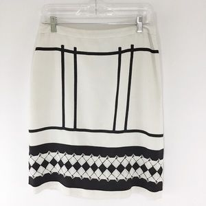 ETCETERA BLACK AND WHITE EMBROIDERED SKIRT